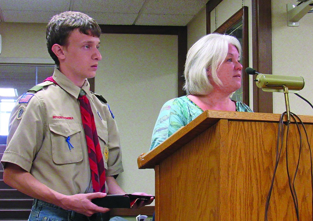 Eagle Scout Eric Meredith and Rotary Club member Jill Plowman presented Meredith's project idea for installing a Little Free Library in Unity Park to the Cokato City Council Monday night. Meredith expects the project to be completed in October.