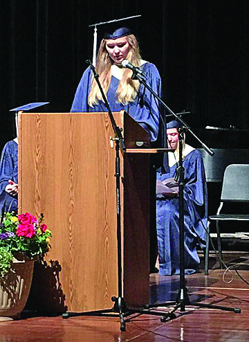 DC senior Alicia Johnson read scripture passages at the 2017 Baccalaureate service May 31.