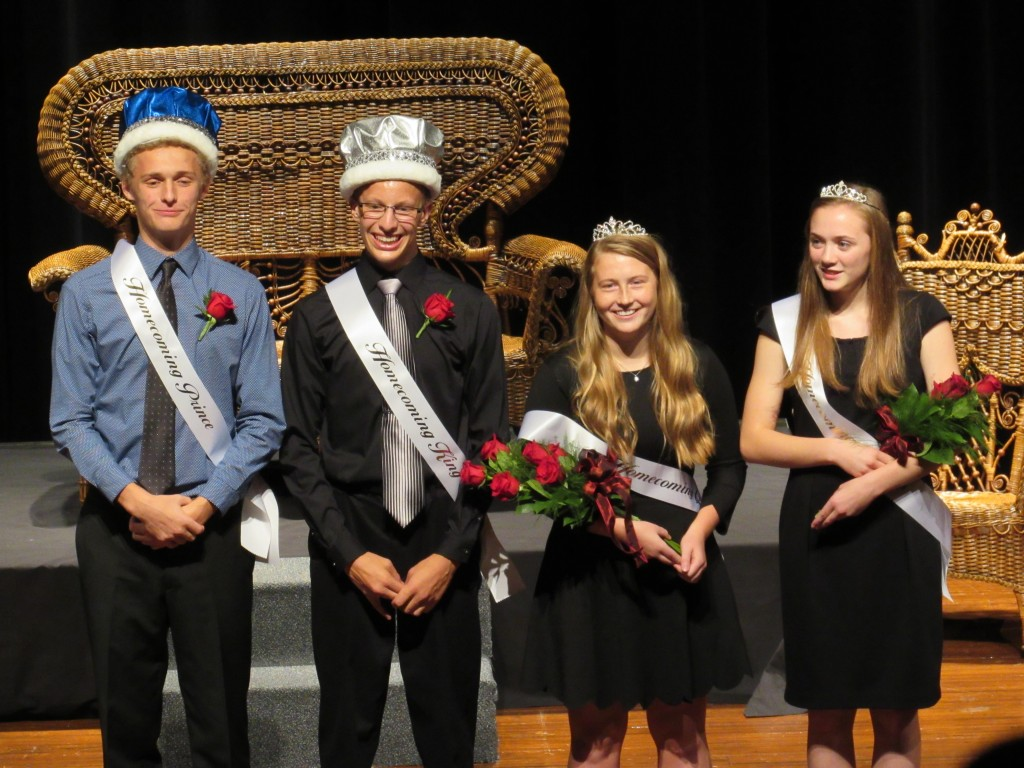 DCHS's homecoming royalty are Will Nelson (first attendant), Chad Dischinger (king), Rachel Haataja (queen), and Anna Peterson (first attendant).
