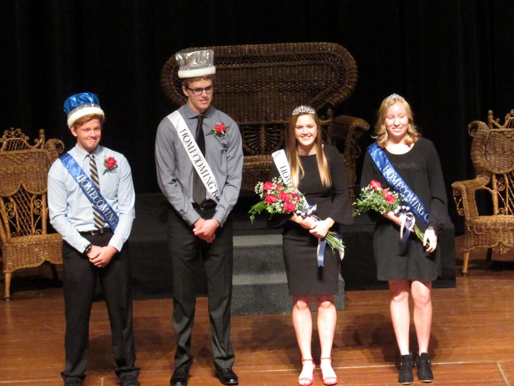 Cade Anderson was voted first attendant to the king, Paul Raisanen was voted homecoming king, Megan Nelson was voted homecoming queen, and Patricia Aho was voted first attendant to the queen.