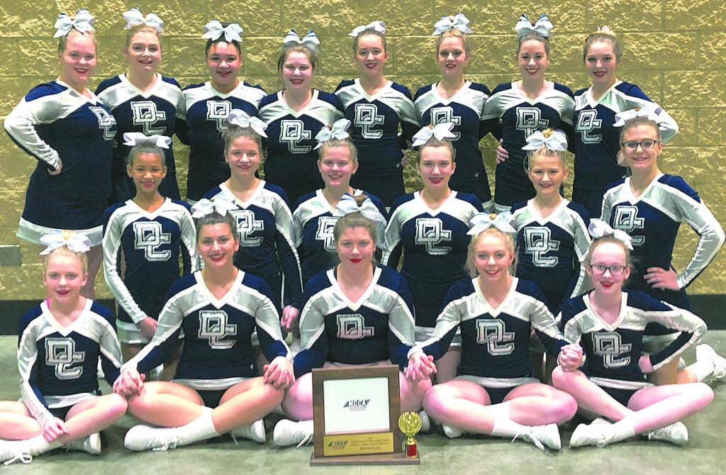 Members of the Dassel-Cokato High School cheer team headed to Florida for national competition are: front  -  Dakota, Victoria, Lexie, Camryn, Birke; middle - Kiana, Alexee, Paige, Ava, Hanna, Amber; back - Gaby, Trinity, AJ, Tabs, Brooklynn, Nealie, Sofia, Caroline.