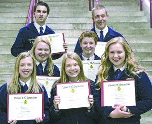 A chapter record seven Dassel-Cokato FFA members earned their state FFA degrees this year. The students have earned or invested more than $2,000 in their Supervised Agricultural Experience (SAE), completed at least four ag education courses, participated in at least 10 FFA activities at the state and national level, and completed at least 25 hours of service learning. Pictured are: front – Kaitlyn Niska, Sarah Munson, Alicia Johnson; second row – Emma Erickson, Lydia Meredith; back – Calyn Rieger, and Nick Selseth.