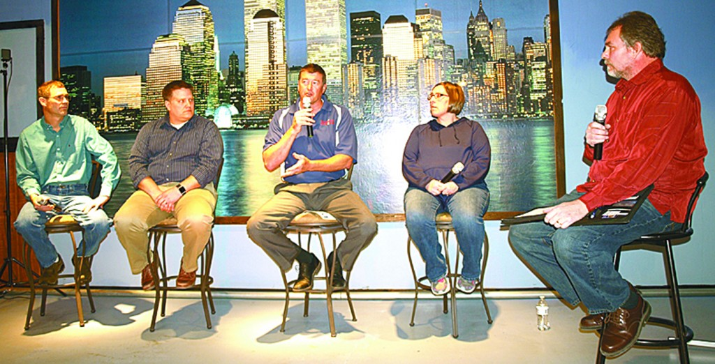 Steve Ellis, Neil Schlagel, Jeff Powers, Rebecca Clemen and Kyle Ackerman worked together March 30 to answer audience questions regarding the upcoming Dassel-Cokato School District referendum.