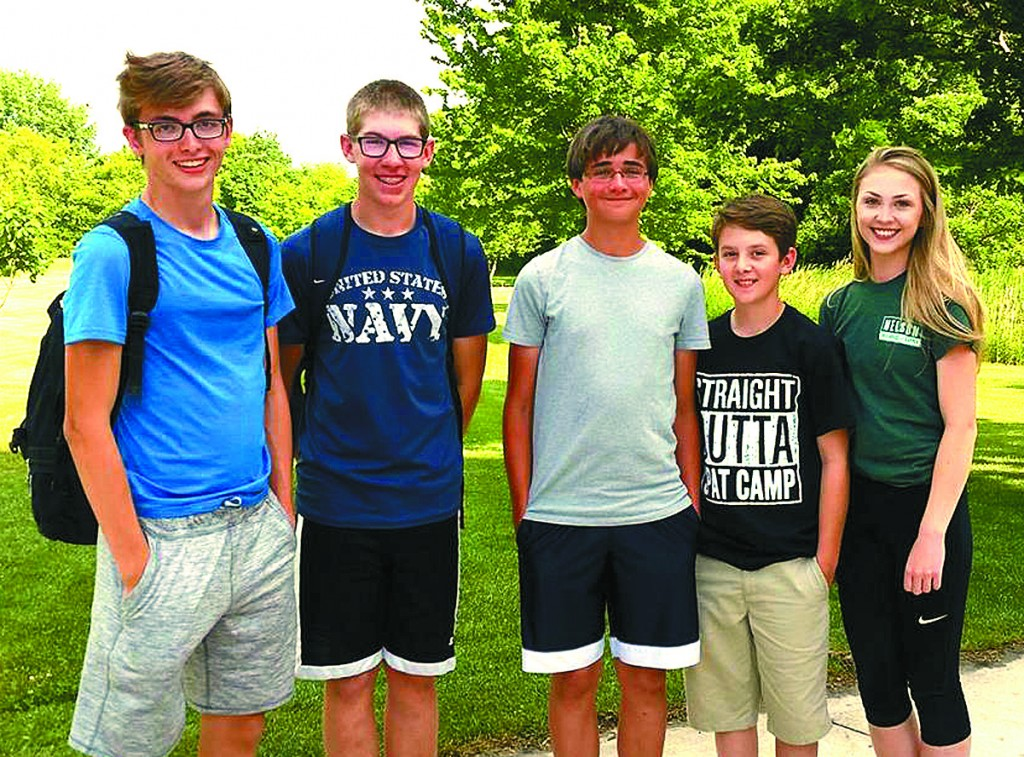 These Dassel-Cokato musicians all made the cut for inclusion in this year's River City Rhythm Drum and Bugle Corps.  They are: William Frickstad, son of Deborah Moen;  Anders Peterson, son of Cory and Nicole Peterson;  Walter Camp, son of Dave and Cathy Camp;  Haydn Veith, son of Brian and Heidi Veith; and Dani Johnson, daughter of Todd and Brenda Johnson.