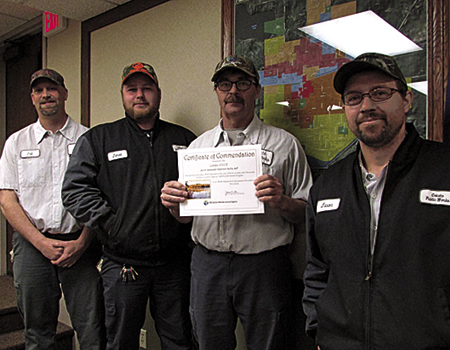 Cokato's public works received a certificate of commendation April 12 from the Minnesota Pollution Control Agency  for its work at the city's wastewater treatment facility throughout 2016. Picture are Jeff Salmela, Jared Merges, Jeff DeGrote, and Jason Kalis. Not pictured is Mark Hendrickson.
