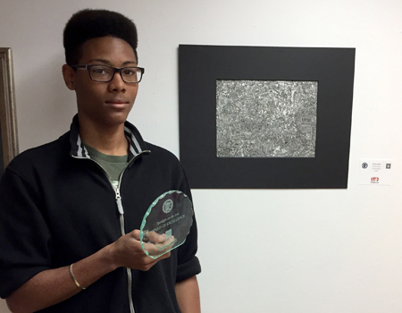 "Freshmen Zavian Neal earned the Best in Show Award for his drawing, ""Curious Indictment,"" at the Region 2AA Visual Arts Festival. Art instructor Geoff Welles stated that DC had not received an award like this for a few years, and that Neal's achievement is especially impressive since he just completed his first year in high school."