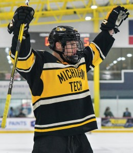 Brian Halonen has a big fan club at home in Delano while he plays at Michigan Tech. Photo courtesy of Michigan Tech Athletics