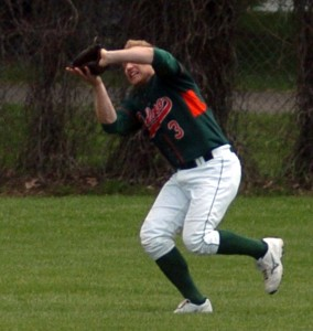Delano's Kevin Jaunich makes a running catch May 11 for the NSL All-Stars in an exhibition game in Delano against the St. Paul Saints.