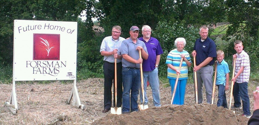 The Forsman family broke ground for the new Forsman Farms egg processing plant, to be located in Howard Lake's industrial park. Pictured are Gary, David, Gaylord, Mae, Peter, Kia, and Leif Forsman at the July 11 ceremony.
