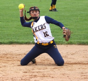 Shortstop Annella Lammers sticks with the play and throws from her knees to record a big out for the Lakers.