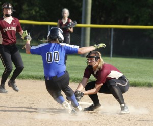 LP/HT senior Rileigh Shackelton applies the tag at second base for a big out during LP/HT's 3-1 victory over Mounds Park Academy Tuesday night.