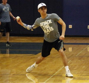 Noah Bush fires a throw over to first during Game 4 of the HLWW baseball Wiffle Ball World Series.