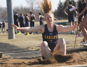 HLWW senior Heather Leukuma took third place in the long jump for the Lakers at the Maple Lake Lions Invitational Monday afternoon.