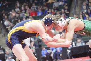 HLWW seventh-grader Collin Boese held his own against one of the state's best wrestlers in Panesville's Shawn Rue.