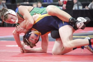 Shawn Rue, the fifth-ranked wrestler in Class A at 132, showed off his experience in the third period against HLWW's Collin Boese.