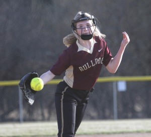 Freshman Alexis Langenfeld gave the Bulldogs some strong pitching in relief in LP/HT's 15-5 in Game 2 to sweep PACT Charter Monday night.