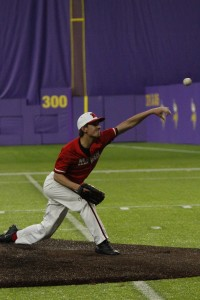 Nic Voelker allowed just four hits while striking out seven in his complete game shutout against No. 8 Heritage Christian at US Bank Stadium Friday night.