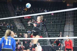 Olivia Tjernagel reaches high for one of her seven kills. Tjernagel and the Crusaders put on an impressive offensive performance in their sweep against Cook County.