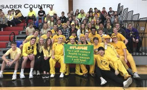 During a Mayer Lutheran volleyball game, the student section wore all yellow (Riley's favorite color) in support of their friend and classmate who was battling cancer.