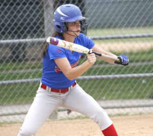 Junior Nikki McDonald squares up for a bunt during Watertown-Mayer's 9-1 victory over SW Christian.