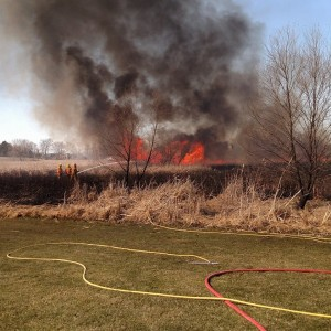 Firefighters responded to a 20 to 25 acre grass fire near Howard Lake April 3.