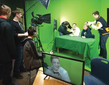 KLKR club members Parker Kieser, Chase Lange, Dan Graham, Warren Weir, Wyatt Pelnis, Brook Lorenson, and Earl Weir get ready to film an episode of Laker Nation.