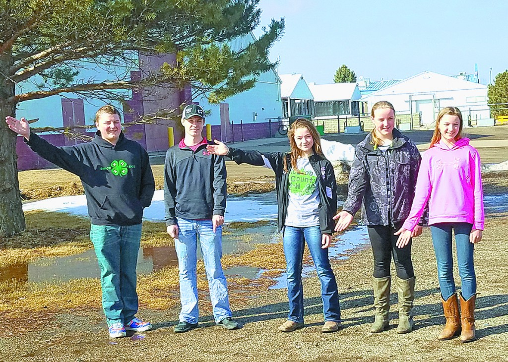 This is the area of the McLeod County Fairgrounds where the new building is proposed.  Pictured are 4-H participants Eddie Becker, Austin Lang, Julia Quast, Abby Gruber, and Alyssa Gruber.
