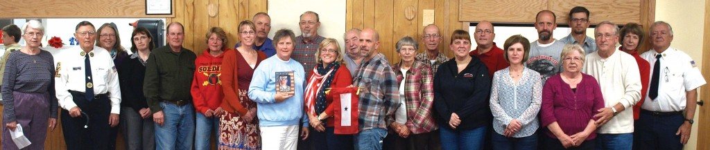 Parents and grandparents of active military service personnel received Blue Star Service Banners during the Martin Krueger Post #407 Veterans Day dinner Wednesday evening in downtown Winsted.