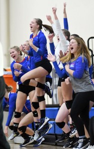 The Watertown-Mayer bench celebrates a point in the first set of the Section 5AA final against Delano Thursday at the Academy of Holy Angels. The Royals won the match in five sets, and will play at state next week. Photo by Matt Kane